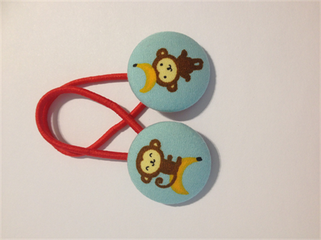 Cheeky Monkey fabric button hairties